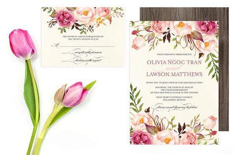 floral wedding invitation set do it yourself printable