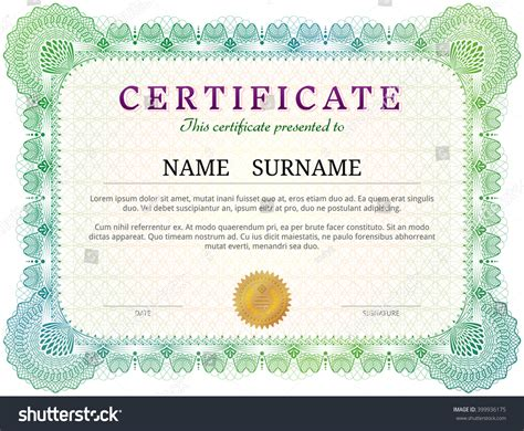 certificate template guilloche elements green diploma