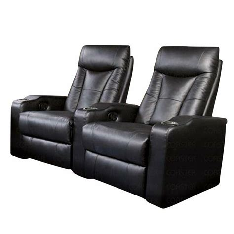 coaster pavillion  theater seat chairs  black leather