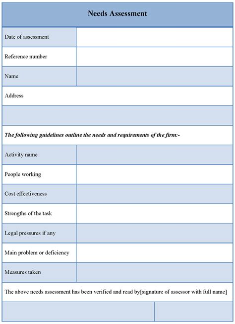 Assessment Template needs assessment template images