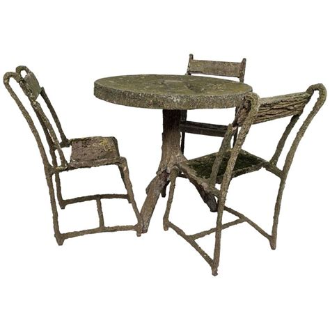 Faux Bois Furniture by Set Of Early Faux Bois Furniture Three Chairs And A
