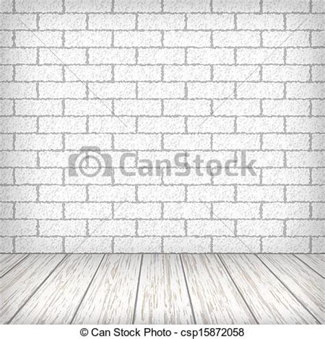 floor drawing clipart vector of white brick wall with wooden floor in a vintage interior csp15872058