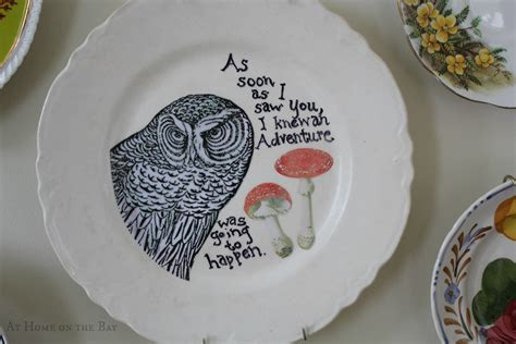 Decoupage Plate - as soon as i saw you decoupage owl plate