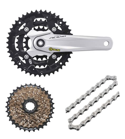New Rantai Sepeda Shimano 8 9 Speed Hg53 shimano alivio 9 speed octalink mtb hybrid crank cassette hg53 chain bundle ebay
