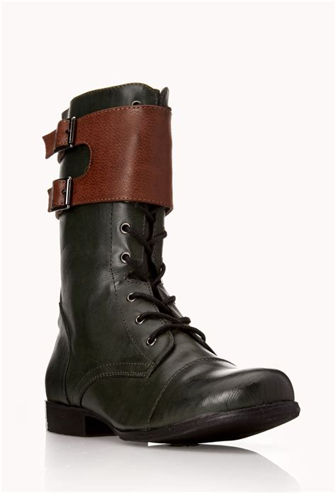 forever boots forever 21 standout combat boots in green green