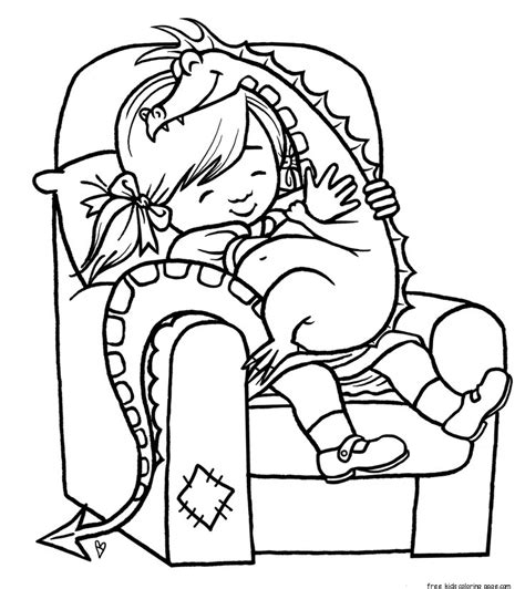 girl dragon coloring page print out girl playing with toy dragon coloring pagefree