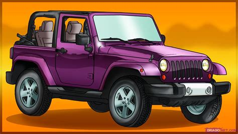 jeep drawing how to draw a jeep wrangler step by step suvs