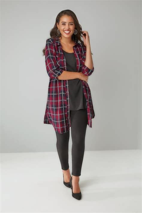 Big Ufufy Big Size Daster burgundy navy check longline duster shirt with pockets metallic detail plus size 16 to 32