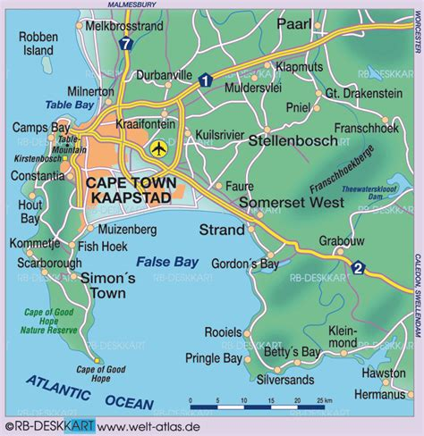 cape town south africa map map of cape town environment region in south africa