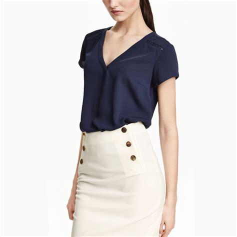 Simple Top V Neck 2016 summer new modest formal office work wear simple shirt tops low v neck sleeve