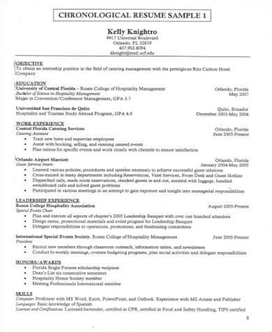 hospitality resume sle pdf sle hospitality resume 8 exles in word pdf