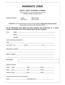 indemnity form template invitation templates