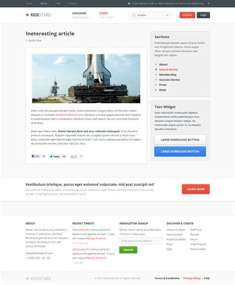 crowdfunding templates kickstars crowdfunding psd template by bestwebsoft