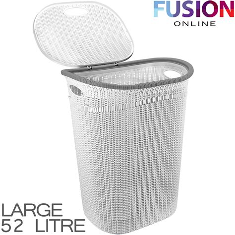 Plastic Laundry Basket Washing Clothes Bin Rattan Knot Plastic Laundry With Lid