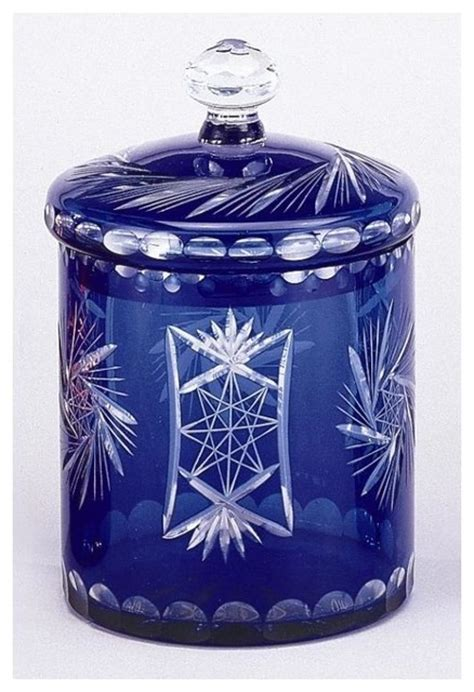 decorative kitchen canisters and jars decorative storage jar in cobalt blue overlay