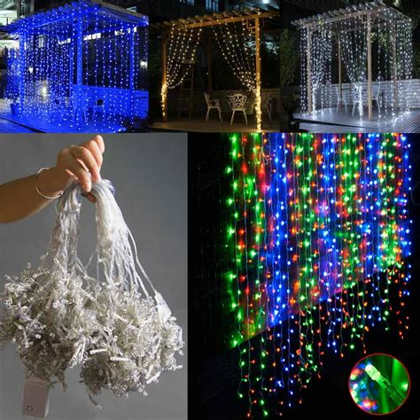 300led curtain icicle lights string fairy wedding garden