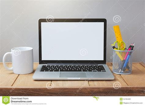what is a template on a computer laptop with white screen mock up template office desk