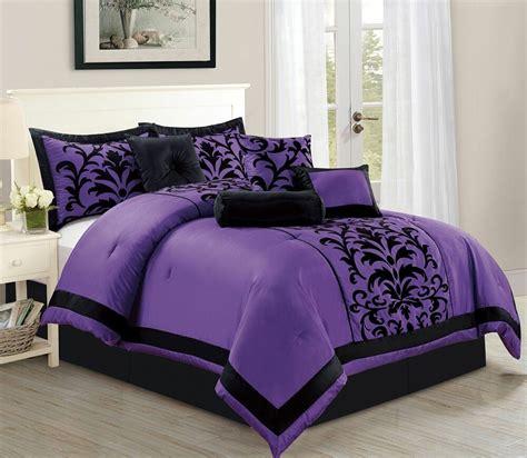 donna purple flocking design  piece comforter set  sized bed  bag ebay