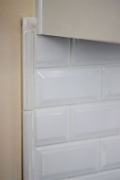 beveled subway tile backsplash border kitchen space pinterest
