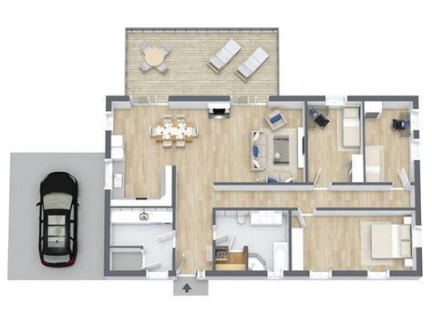 Modern Home Floor Plan by 3d Grundrisse Roomsketcher