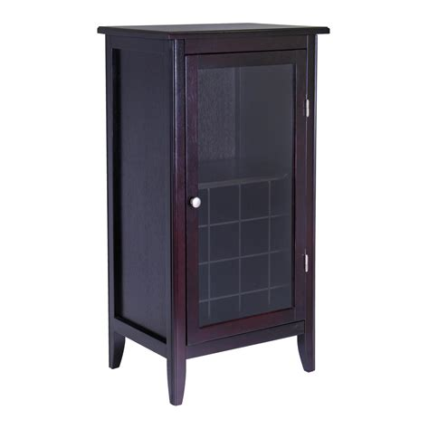 Cabinet Door With Glass Winsome Wood Wine Cabinet With Glass Door Espresso Kitchen Dining