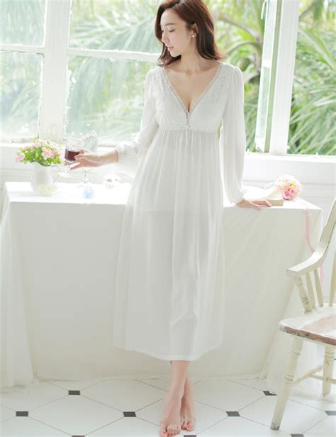 comfortable nightgowns spring and summer sexy v neck lace nightgown princess sexy