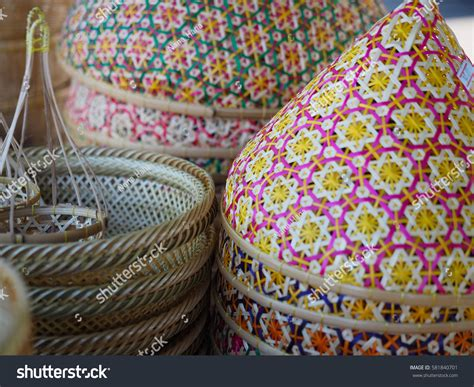 Handmade In Thailand - handmade thai traditional wicker works shop stock photo
