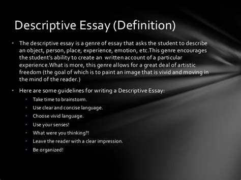 Definition Of Descriptive Essay by Definition Of Descriptive Essay Grassmtnusa