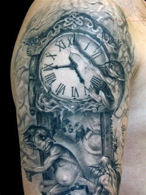 clock half sleeve tattoo designs grey ink wall clock on right half sleeve