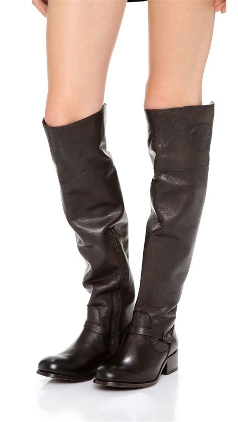 black with brown boots frye logo the knee boots in black lyst
