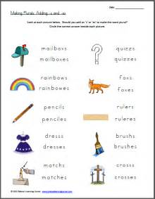 free worksheet plurals add s or es free