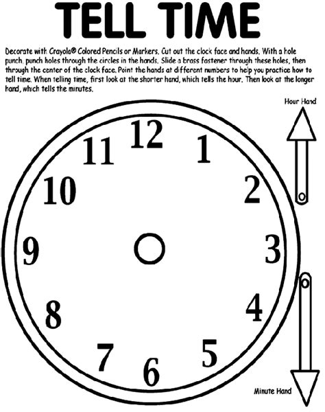 Times Coloring Pages tell time coloring page crayola