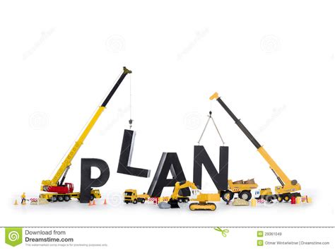 build a build up a plan machines building plan word stock image