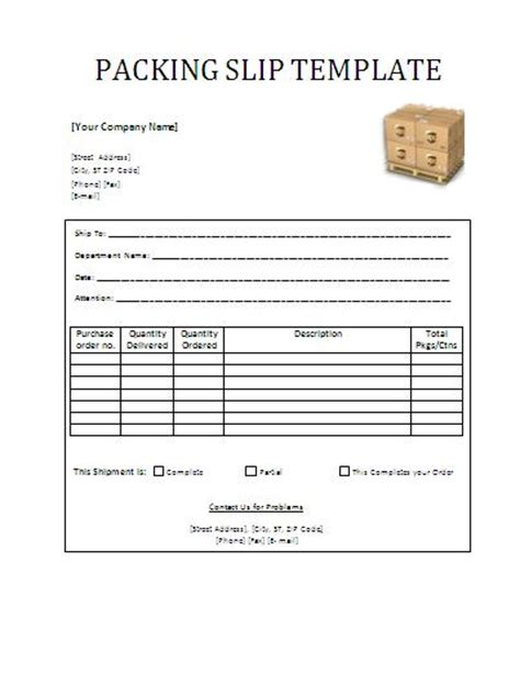 pack template packing slip template word templates