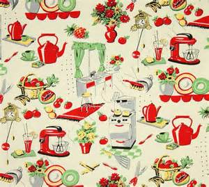 Vintage Kitchen Curtain Fabric Michael Miller Fabric Fifties Kitchen Retro 50 S Kitchen Appliances