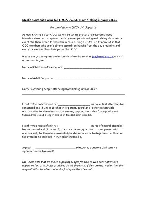 Media Consent Form For How Kicking Is Your Cicc Smma Contract Template