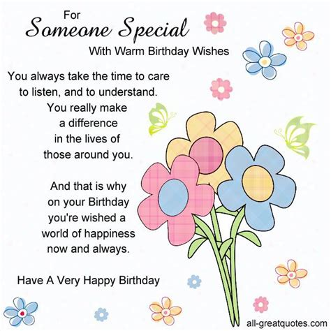 Happy Birthday Quotes For Someone Special For Someone Special With Warm Birthday Wishes You Always