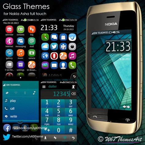 themes nokia asha glass themes for nokia asha full touch asha 311 asha 305