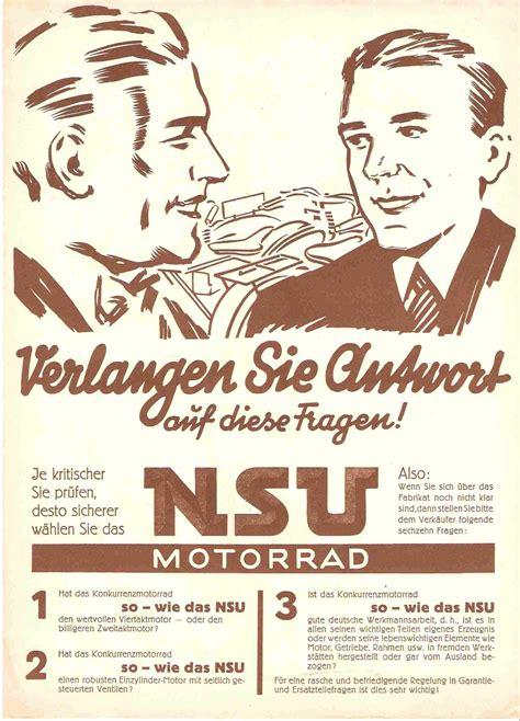 Nsu Motorr Der Logo by Re Werbefotos Motorr 196 Der Zweir 196 Der 308