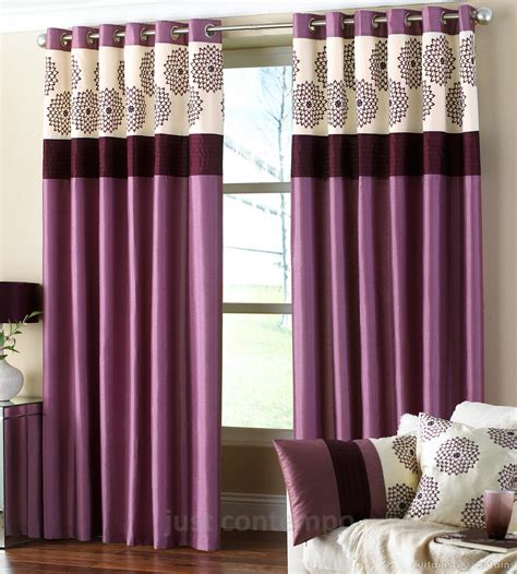 Purple Curtains Clarimont Plum Purple Designer Lined Curtain Curtains
