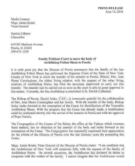 archbishop fulton sheen foundation press release june 14 2016