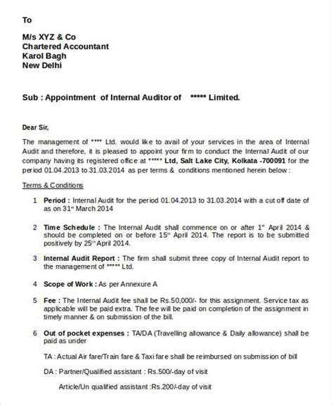appointment letter to auditor after agm auditor appointment letter templates 6 free word pdf format