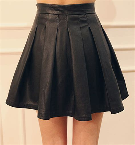 dabagirl pleated flared leather mini skirt kstylick
