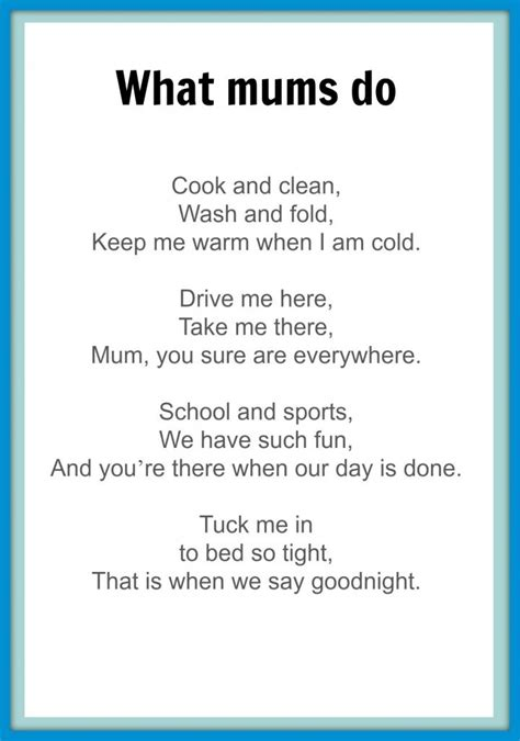 day poems mothers day poems kidspot