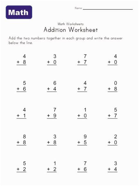 simple addition worksheets you can print for at home