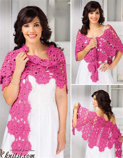 Pashmina Instan Motif One Pad Nibras lace shawl crochet pattern