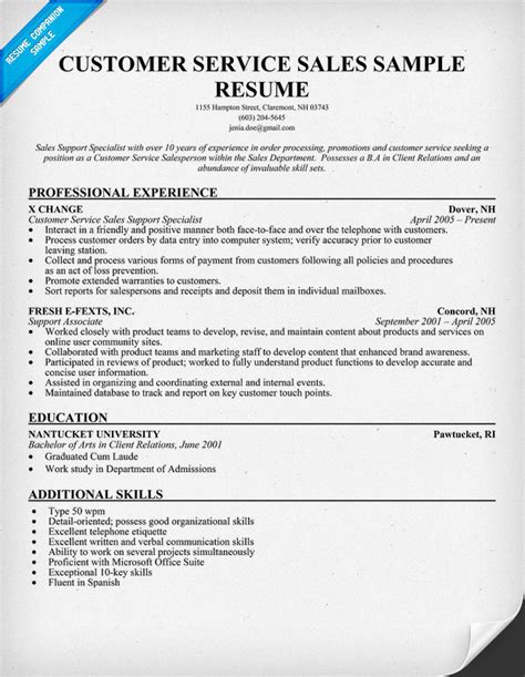 Resume Exles For Sales Support Sle Resume Templates Customer Service Platinum Class Limousine