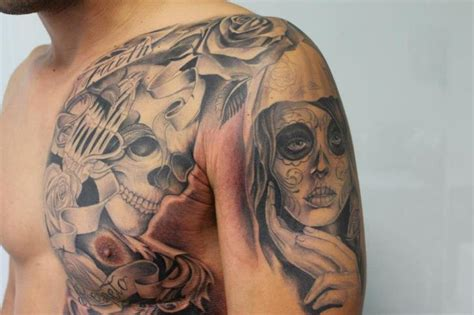 tattoo prices mexico shoulder chest mexican skull women tattoo by cesar lopez