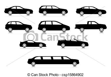Different Types Of Kitchen Knives vector clipart of silhouettes of different body car types