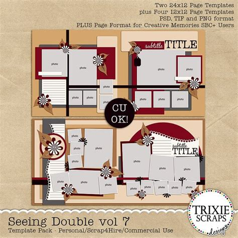 Seeing Double Volume 7 Digital Scrapbooking Templates Psd Tif Page How To Make A Digital Scrapbook Template